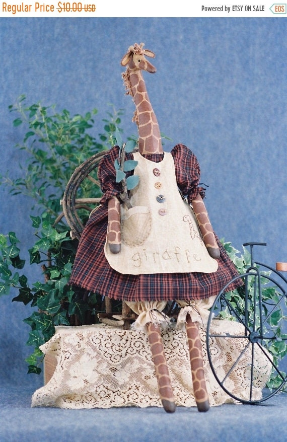 ON SALE Abigail - Cloth Doll E-Pattern - 27in Country Girl Giraffe epattern