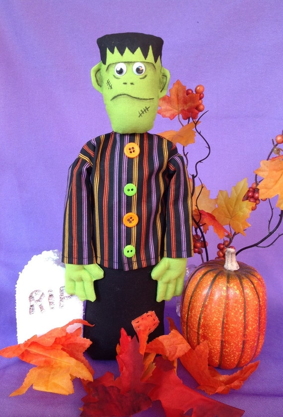 Frankie - Cloth Doll E-Pattern 11inch Frankenstein Halloween Monster Free Standing Stump Doll