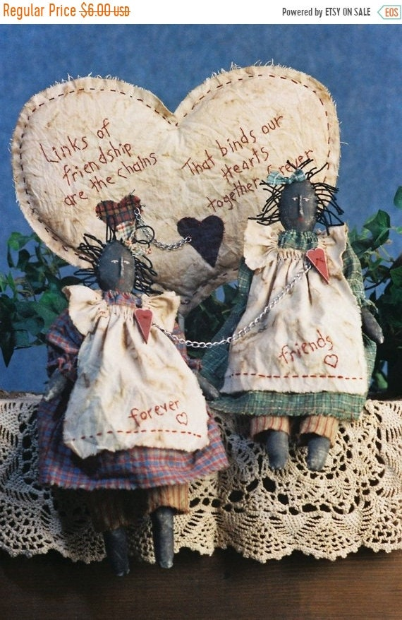 ON SALE Chained Hearts - Cloth Doll E-Pattern - Primitive Friendship Doll epattern