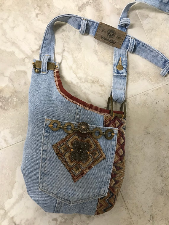 Handmade Recycled Denim Crossbody Boho Indie Hippie Bag