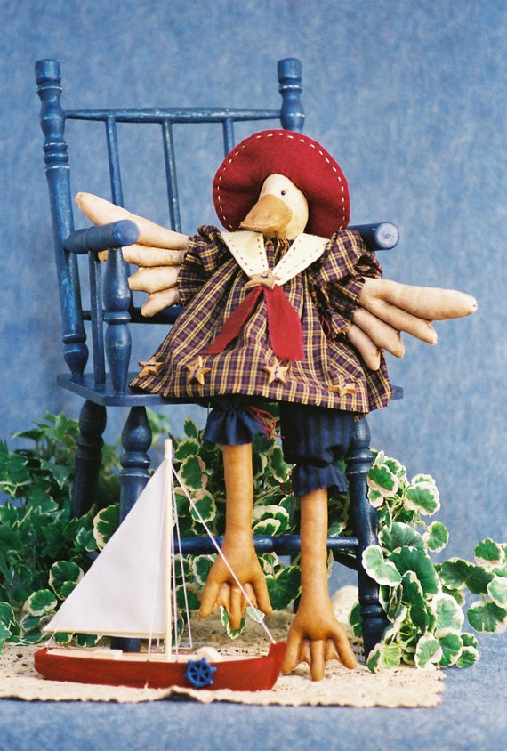 Just Duckie - Mailed Cloth Doll Pattern - 19in Cute Girl Sailor Duck Bird Doll