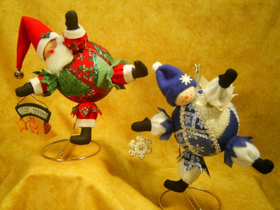 Bustin Out For Christmas - Cloth Doll E-Pattern - Santa and Snowman Christmas Ornaments hanging dolls