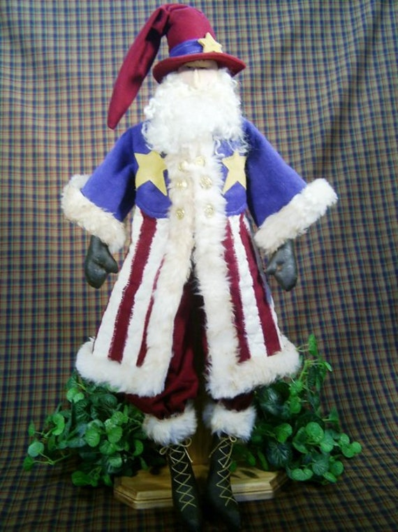Uncle Sam Santa - Cloth Doll E-Pattern 25in Patriotic 4th of July Santa