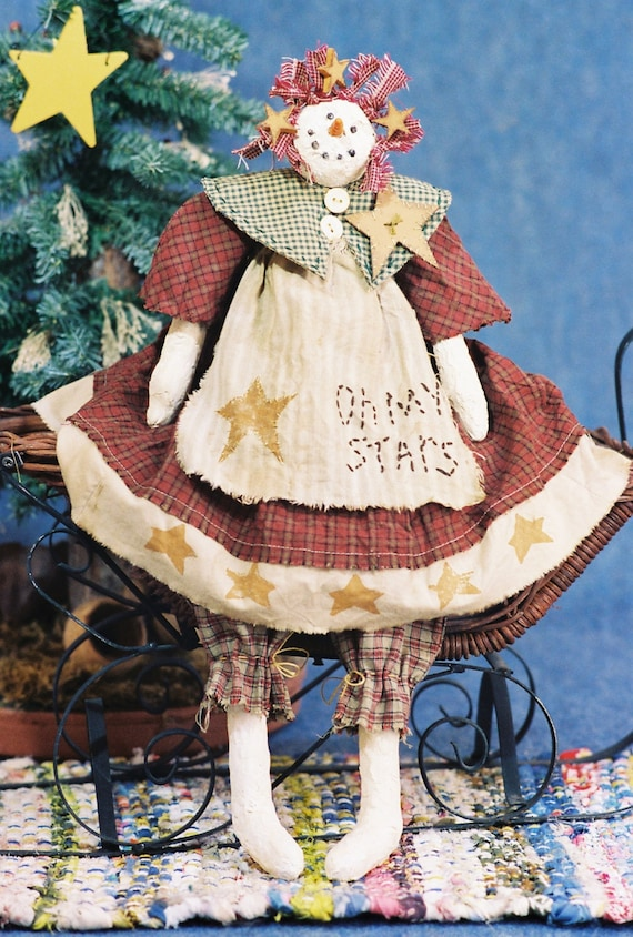 Oh My Stars - Cloth Doll E-Pattern 19in Country Holiday Snowgirl Snowman epattern