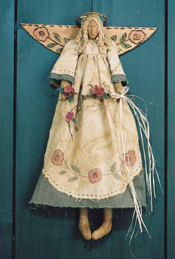 Garden Angel - Cloth Doll E-Pattern - 18in Primitive Victorian Spring Garden Wall Hanging Angel