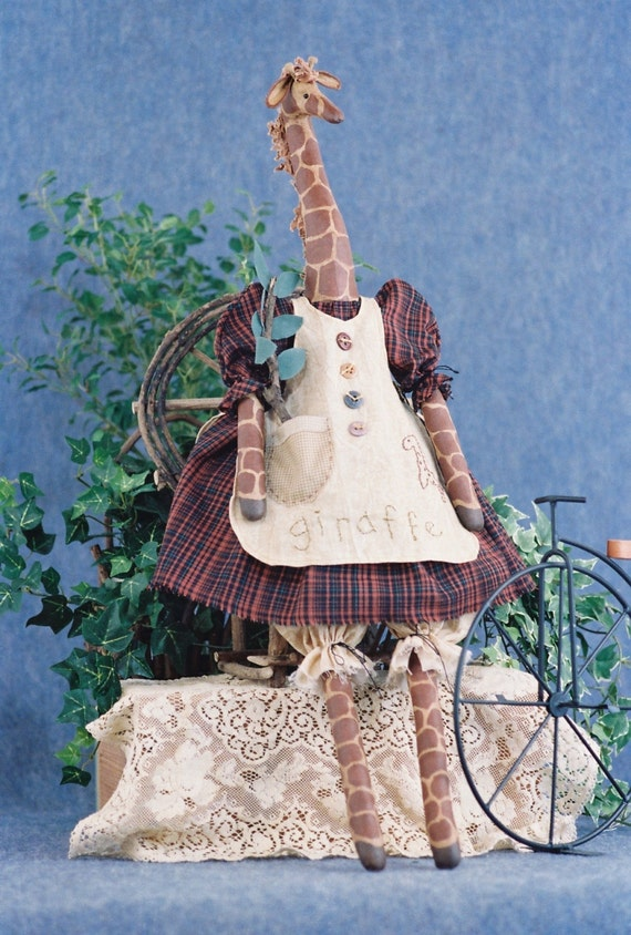 Abigail - Cloth Doll E-Pattern - 27in Country Girl Giraffe epattern