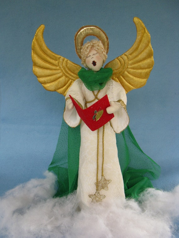 Hark the Herald Angel - Mailed Cloth Doll Patterns 19inch Christmas Caroling Angel Free Standing Stump Doll