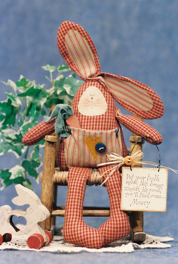 Tooth Fairy Bunny - Cloth Doll E-Pattern 13in Tooth Fairy Keepsake Bunny Rabbit Doll