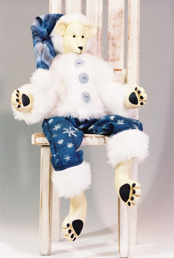 Humphrey - Cloth Doll E-Pattern - 18in Fur Dressed Polar Bear Epattern