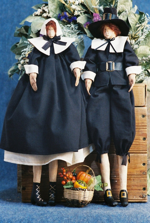 Give Thanks - Cloth Doll E-Pattern Traditional Thanksgiving Pilgrim Couple