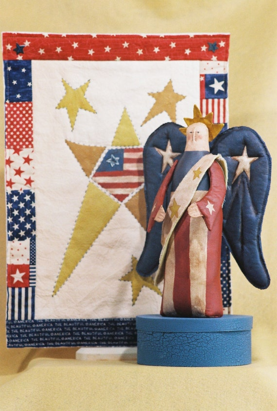 Miss America - Cloth Doll E-Pattern  4th of July Folk art Americana Doll & Quilt