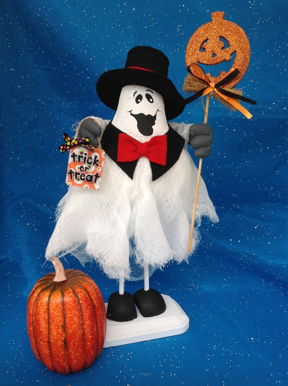 Humphrey Boo-gart - Mailed Cloth Doll Pattern Formal Top Hat & Tie Halloween Ghost