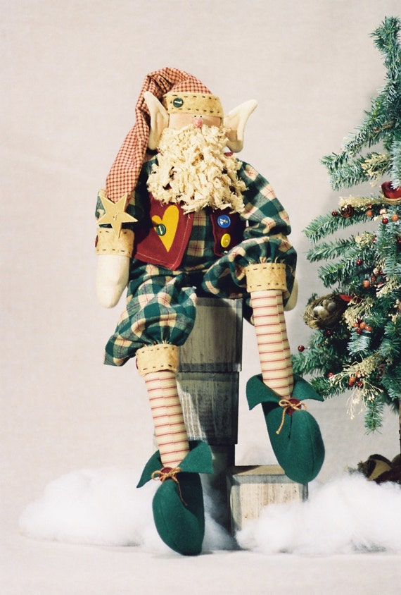 Elmo - Cloth Doll E-Pattern - 25in Christmas Holiday Elf Epattern