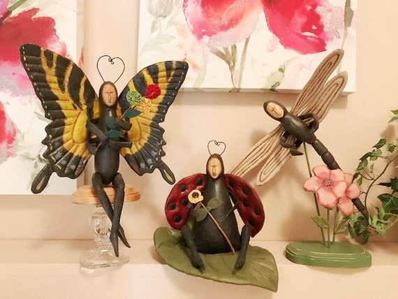 Handmade OOAK Bug Collection Vintage Art Dolls Butterfly, Dragonfly, Ladybug