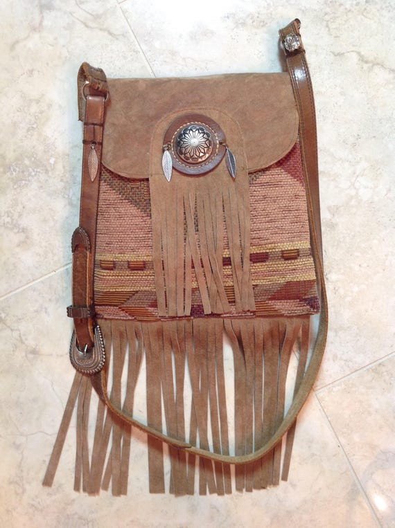 Handmade Boho, purse, Southwestern print fabric with tan suede leather fringe, over shoulder bag, Free Shipping!