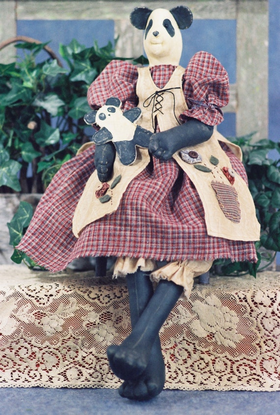 Amanda- Cloth Doll E-Pattern  24in Country Girl Panda Bear Epattern