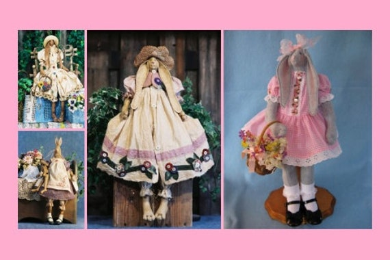 Mailed Cloth Doll Patterns Special Collection of Country Bunny Rabbits