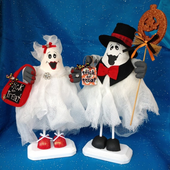 Boo-tiful and Humphrey Boo-gart Ghost Couple - Cloth Doll E-Pattern Special Wonderful Halloween Ghost Couple