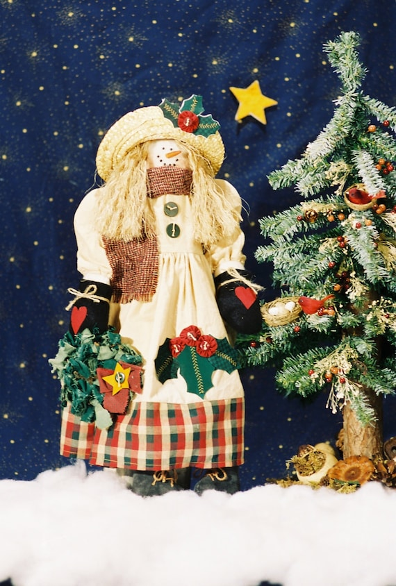 Holly - Cloth Doll E-Pattern- 21in Cute Holiday Snowgirl Epattern