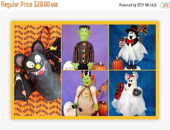ON SALE 5 Halloween Doll E-Pattern Special Collection