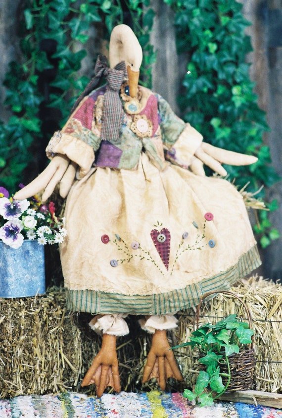 Gandering in the Garden - Cloth Doll E-Pattern - 26in Country Goose Art Doll Animal Epattern