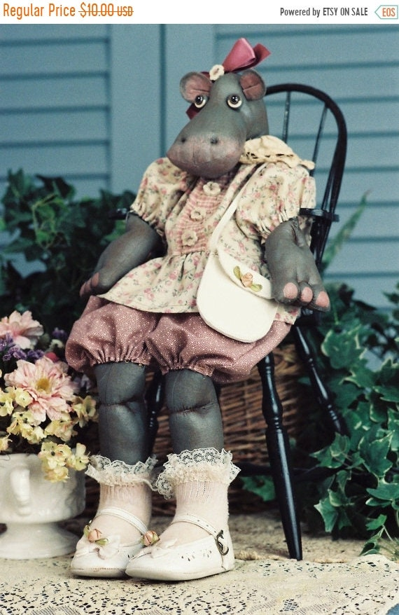 ON SALE Rosebud - Cloth Doll E-Pattern - Adorable Baby Girl Hippo epattern