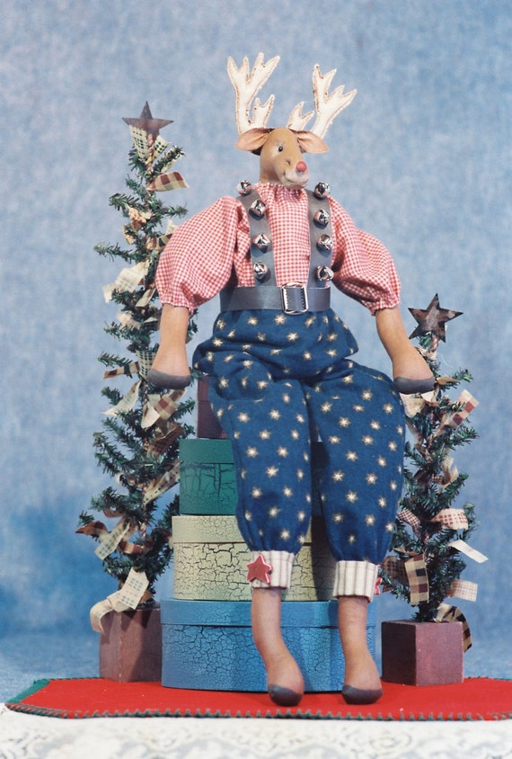 Rudy - Cloth Doll E-Pattern 22in Dressed Christmas Reindeer Doll Animal epattern