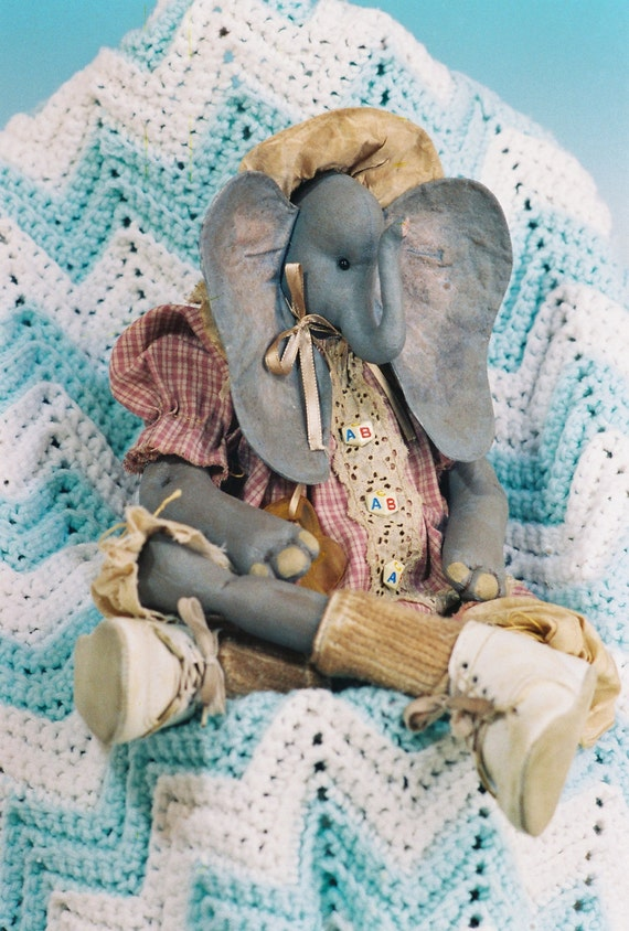 Peanuts - Mailed Cloth Doll Patterns - Adorable Little Baby Girl Elephant