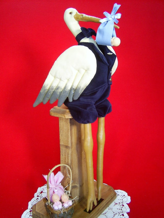 Special Delivery - Mailed Cloth Doll Pattern - 20in Dressed Stork Delivering a Baby