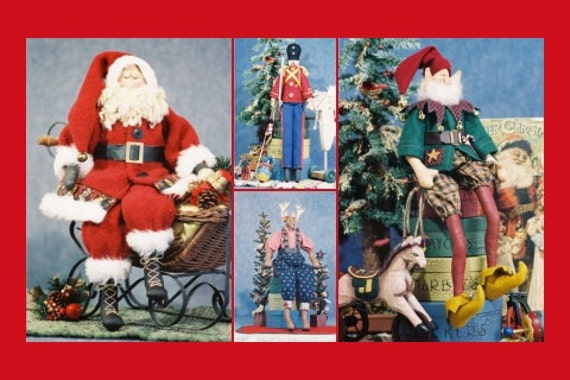 Cloth Doll E-Pattern Group Special Christmas Collection Santa, Toy Soldier, Elf, Reindeer