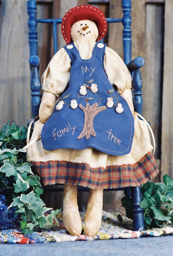 My Family Tree- Mailed Cloth Doll Pattern Holiday Snow Granny with Family Tree