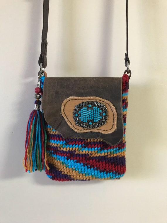 Handmade crocheted and leather, boho, hobo, bohemian crossbody shoulder bag, southwestern colors with beaded tassel