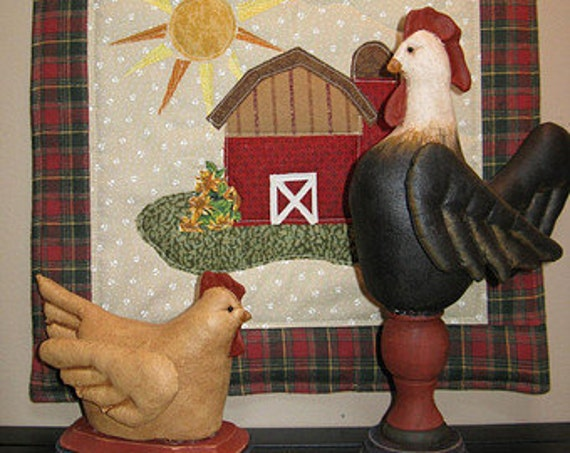 Good Morning Sunshine - Mailed Cloth Doll Pattern Rooster Hen & Quilt Display