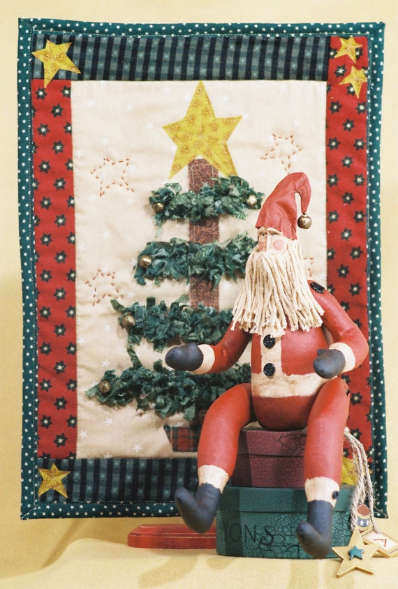 Belsnickle - Cloth Doll E-Pattern - 15in Primitive Santa & Quilt Christmas Display