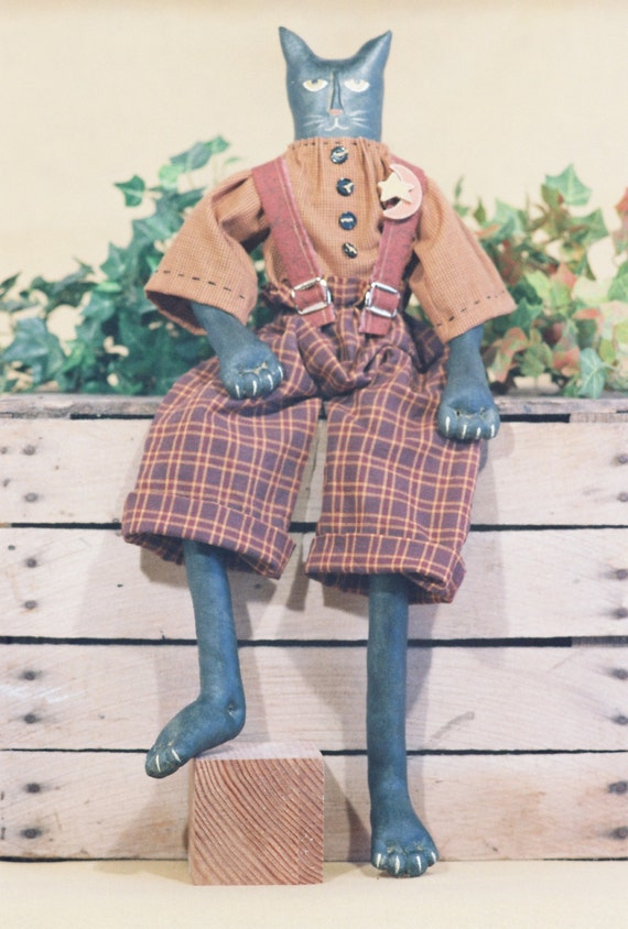 Tom Cat - Mailed Cloth Doll Pattern - 24in Folkart Primitive Black Male Halloween Cat