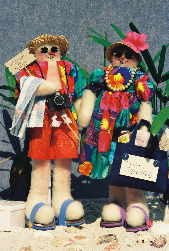 The Snowbirds - Cloth Doll E-Pattern Mr & Mrs Snowman Beach Tourists EPattern