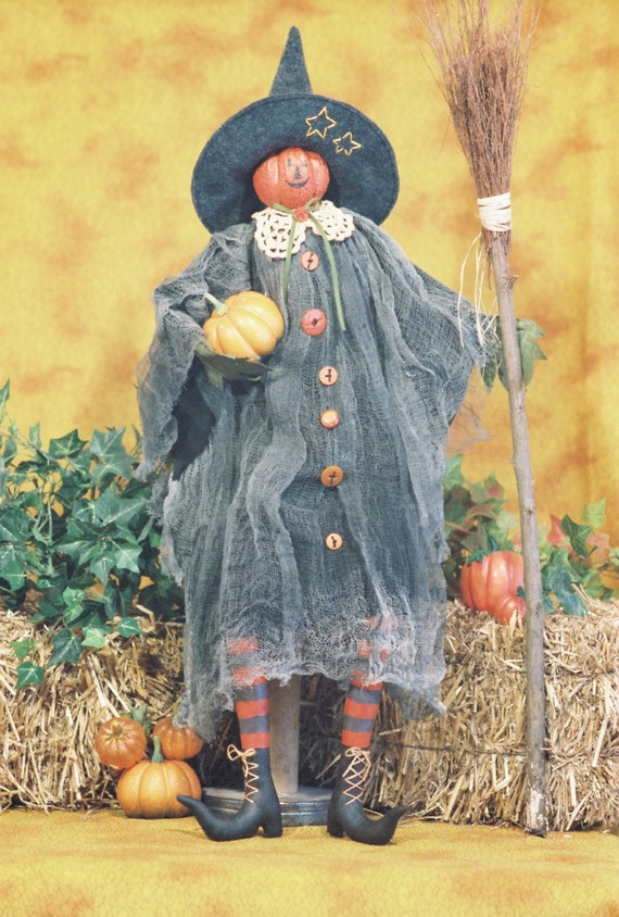 Pumpkin Witch - Mailed Cloth Doll Pattern- 24in Pumpkin Head Halloween Witch