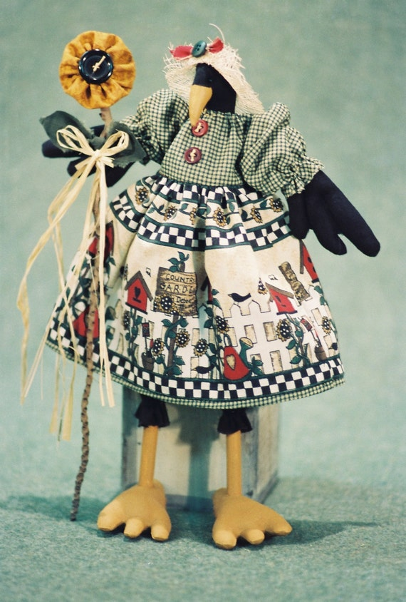 Sunshine - Cloth Doll E-Pattern  12in Country Crow Bird soft doll E-pattern