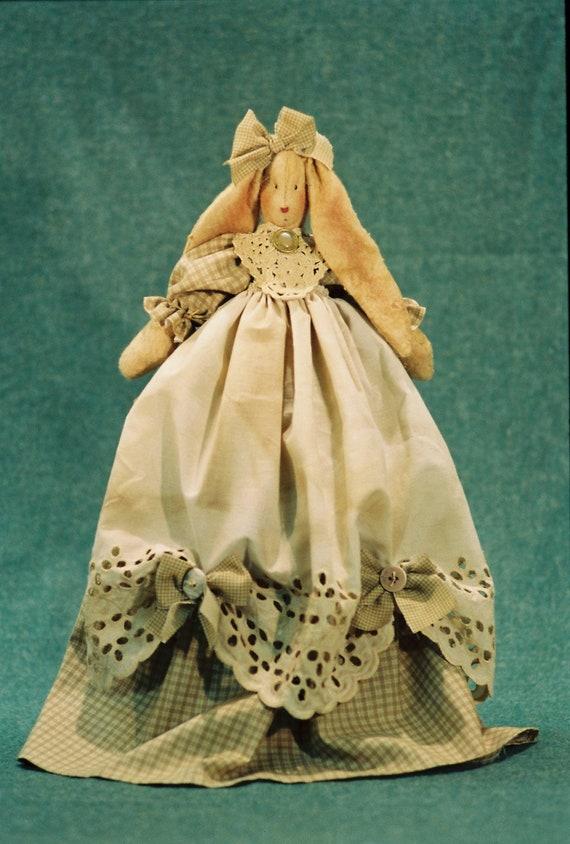 Joanna - Cloth Doll E-Pattern  Pretty Country Bunny Rabbit Shelf Sitting Doll