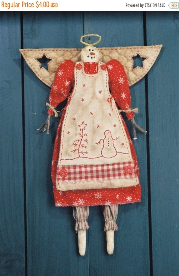 ON SALE Snow Angel - Cloth Doll E-Pattern 19in Country-primitive Holiday Girl Snow Angel