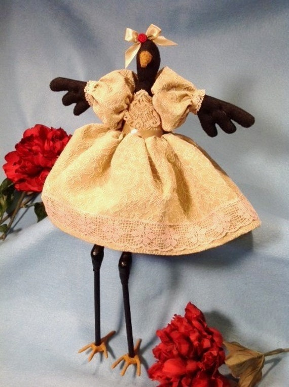 Sunshine OOAK Collectible Handmade Cloth Doll Fancy Dressed Girl Crow