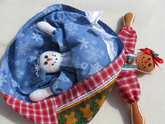 Snowgirl Gingerbread Topsy Turvy Dolls - Cloth Doll E-Pattern - Christmas Topsy Turvy Doll Epattern
