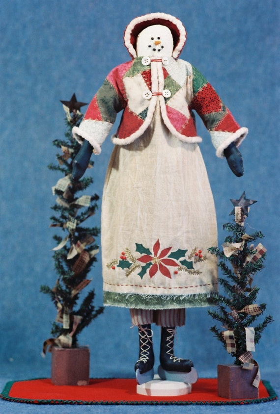 Crystabel - Mailed Cloth Doll Pattern- 22in Christmas Holiday Snowgirl