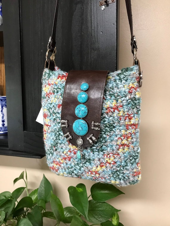 Handmade OOAK Bohemian Crocheted Multi Color Shoulder Bag