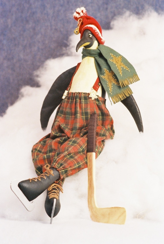 Willie - Mailed Cloth Doll Pattern -23in Ice Skating Hockey Penguin