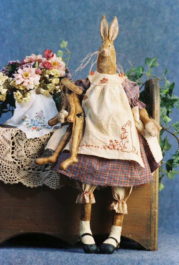Harriet - Cloth Doll E-Pattern - 26in Primitive Country Girl Bunny Rabbit Fabric art design
