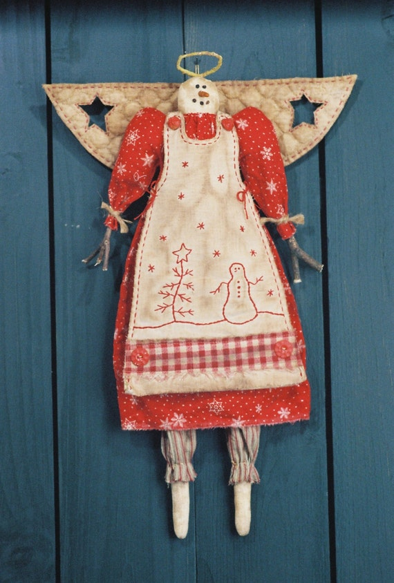 Snow Angel - Cloth Doll E-Pattern 19in Country-primitive Holiday Girl Snow Angel