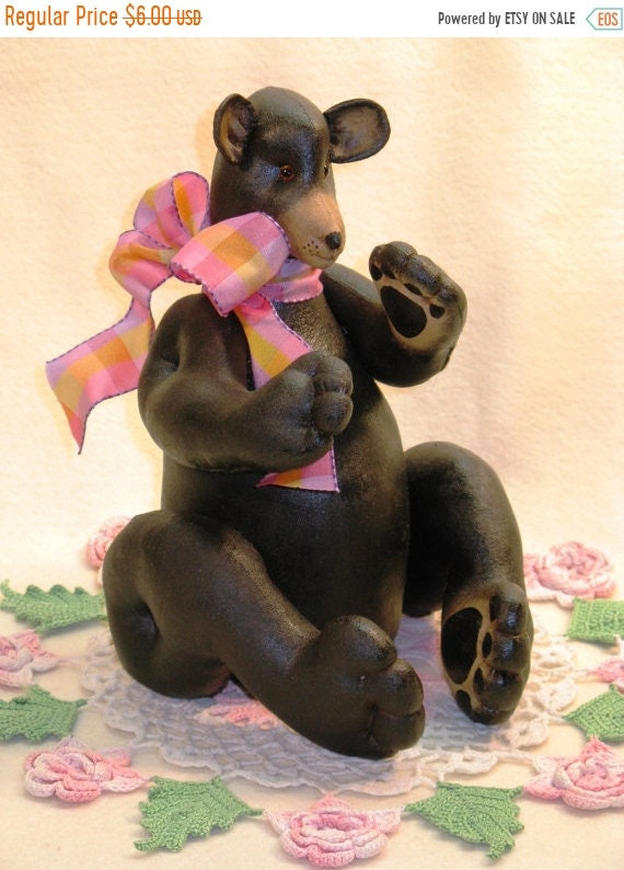 "ON SALE Black Bear - Cloth Doll E-Pattern - 10"" Doll Epattern"