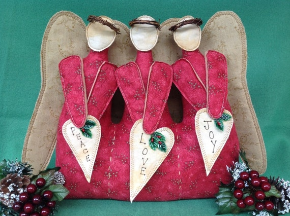 Love, Peace and Joy - Mailed Fabric Art Pattern Christmas Decor Angels