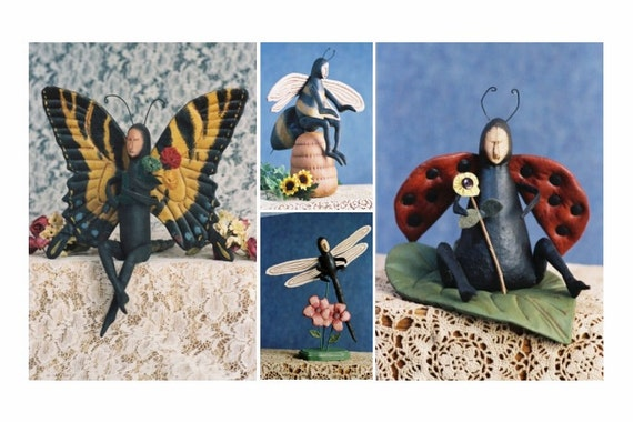 Cloth Doll E-Pattern  Special Price 4 Bug Doll Collection Lady Bug, Bumble Bee, Dragon Fly, Butterfly